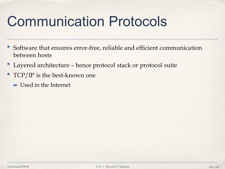Distributed DBMS© M. T. Özsu & P. Valduriez Ch.2/49 Communication Protocols Software that ensures error-free, reliable and efficient communication bet
