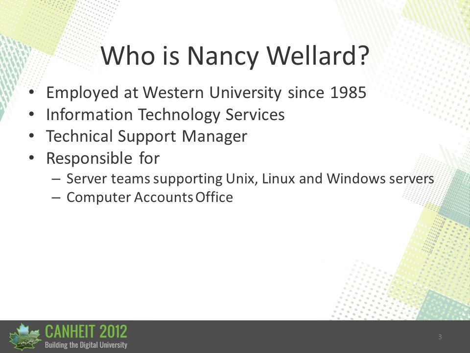 3 Who is Nancy Wellard.