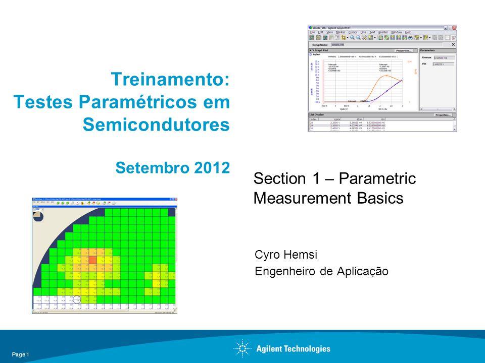 Treinamento: Testes Paramétricos em Semicondutores Setembro 2012 Cyro Hemsi Engenheiro de Aplicação Page 1 Section 1 – Parametric Measurement Basics