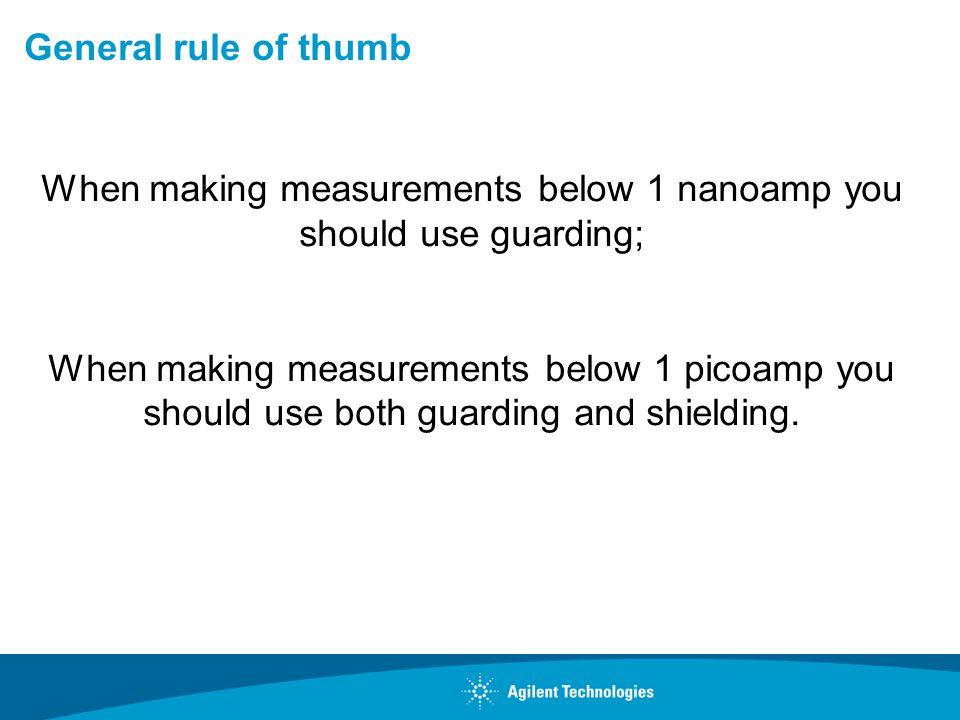 General rule of thumb When making measurements below 1 nanoamp you should use guarding; When making measurements below 1 picoamp you should use both g