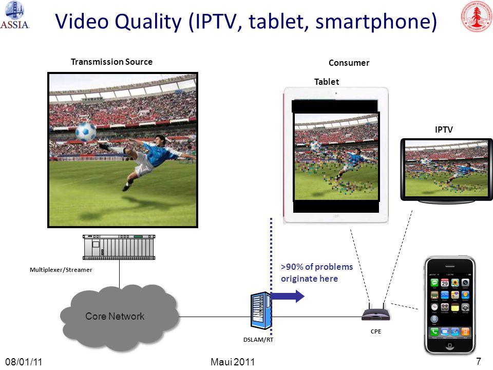 7 Maui 2011 08/01/11 Video Quality (IPTV, tablet, smartphone) CPE DSLAM/RT Transmission Source Multiplexer/Streamer Consumer >90% of problems originat