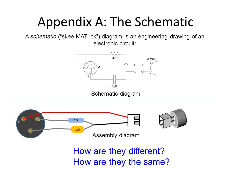 2 1 3.1uF 47k Appendix A: The Schematic A schematic (skee-MAT-ick) diagram is an engineering drawing of an electronic circuit: Schematic diagram < < < < How are they different.