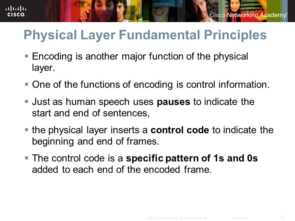 17 © 2007 Cisco Systems, Inc. All rights reserved.Cisco Public Physical Layer Fundamental Principles Encoding is another major function of the physica