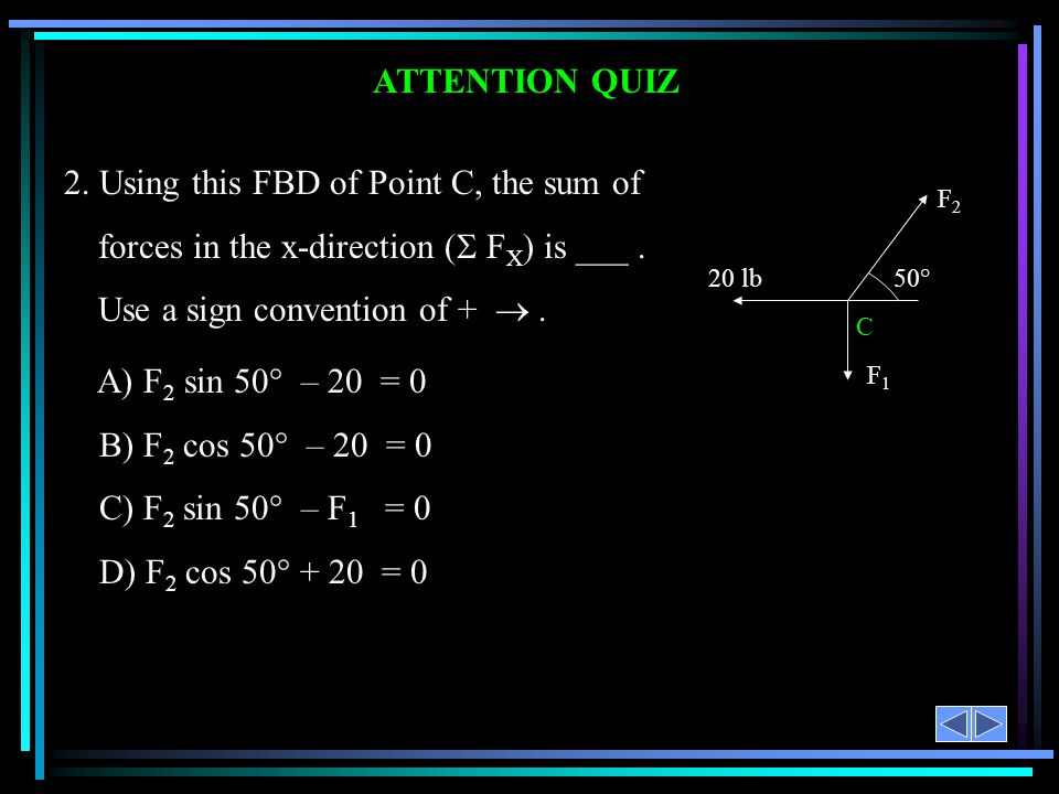 ATTENTION QUIZ F2F2 20 lb F1F1 C 50° 2. Using this FBD of Point C, the sum of forces in the x-direction ( F X ) is ___. Use a sign convention of +. A)