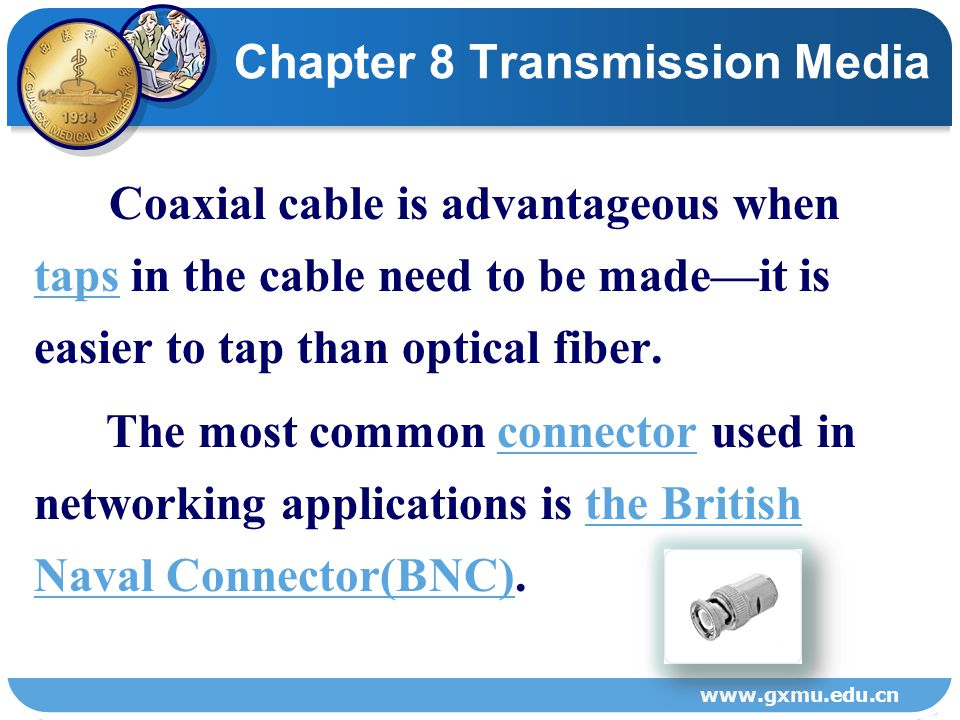 8.2.3 Coaxial cableCoaxial cable Chapter 8 Transmission Media www.gxmu.edu.cn Figure 8-3 Parts of coaxial cable.