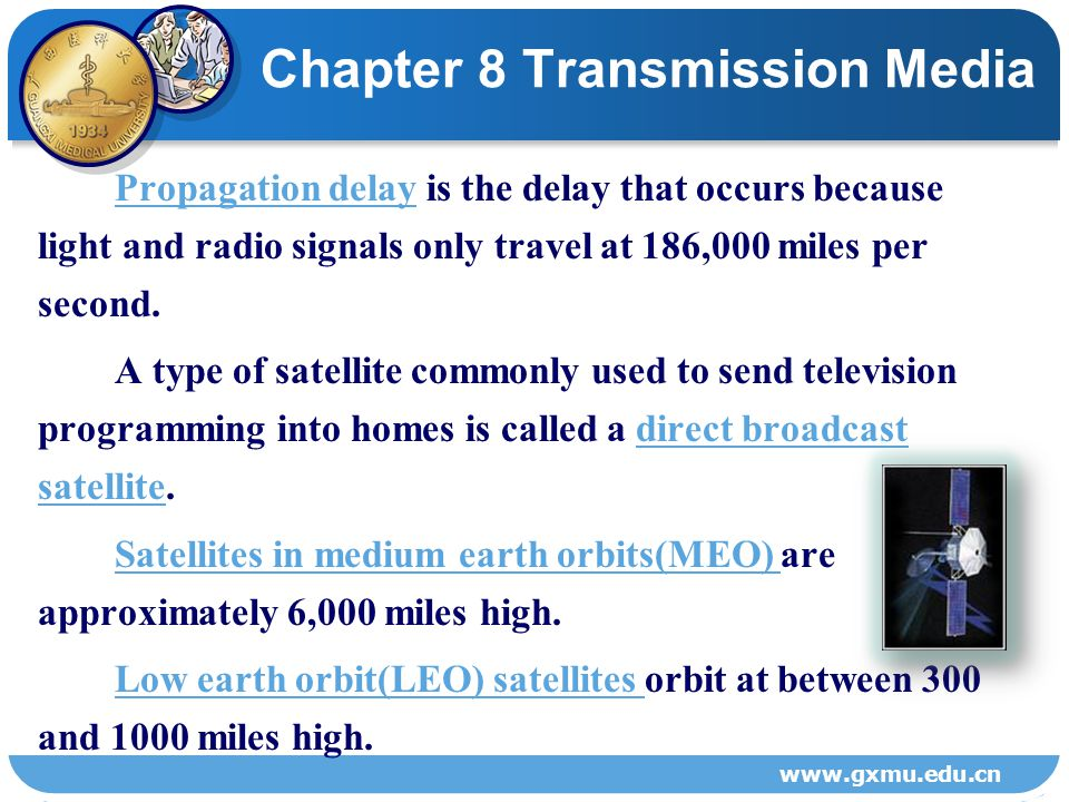 Figure 8-5 Satellite transmission. Chapter 8 Transmission Media www.gxmu.edu.cn