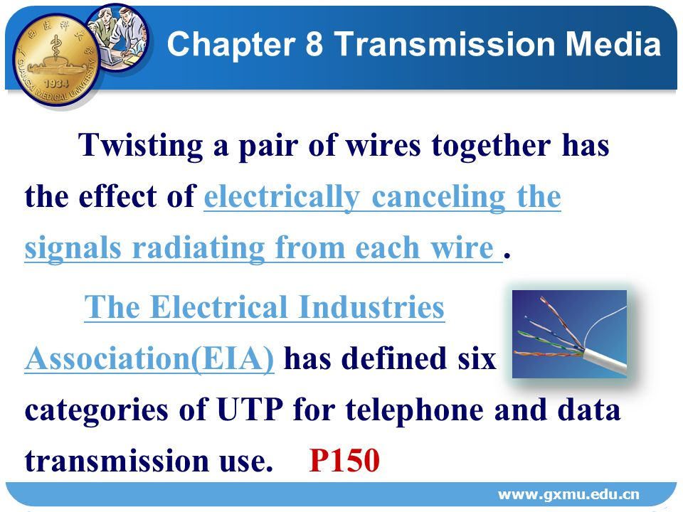 8.2 CONDUCTED MEDIACONDUCTED MEDIA 8.2.1 Unshielded Twisted Pair WireUnshielded Twisted Pair Wire Figure 8-1 Twisted pair wires are the most commonly used medium for communications transmission.