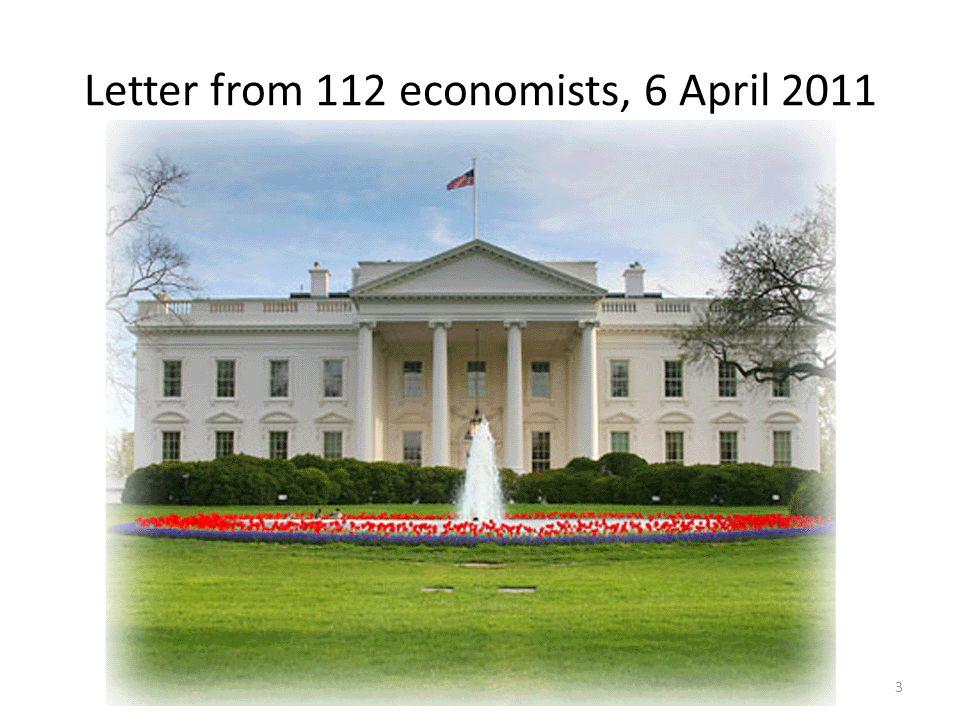 Letter from 112 economists, 6 April 2011 3