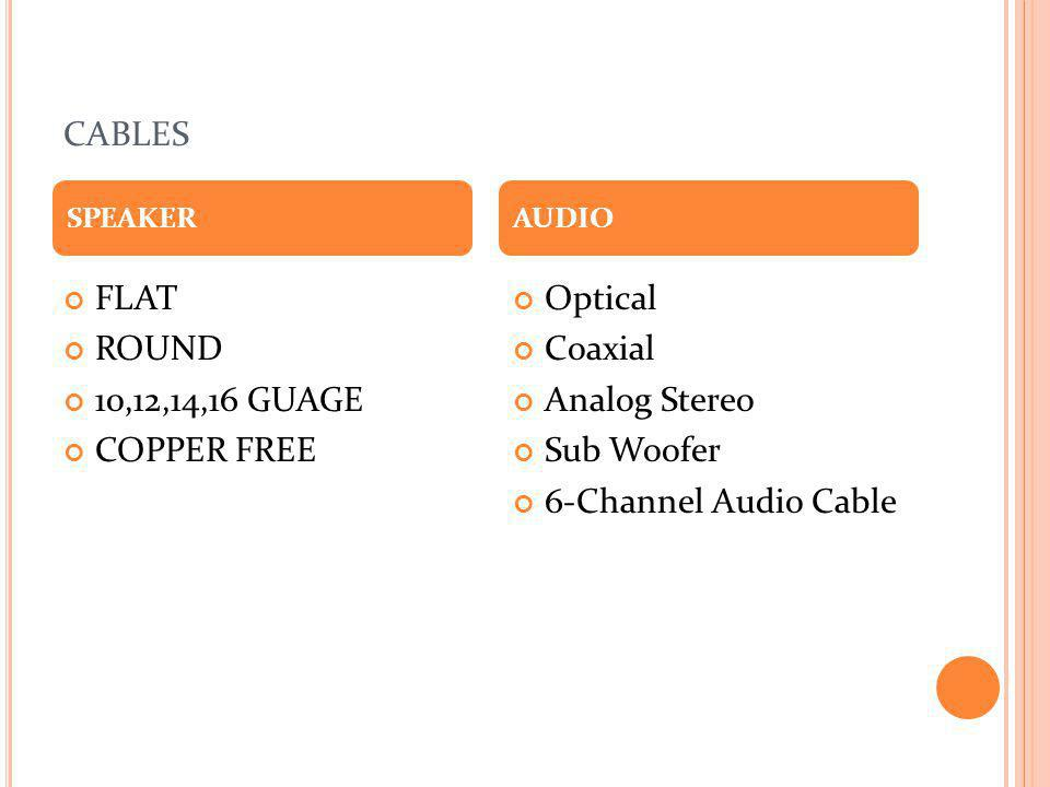 CABLES FLAT ROUND 10,12,14,16 GUAGE COPPER FREE Optical Coaxial Analog Stereo Sub Woofer 6-Channel Audio Cable SPEAKERAUDIO