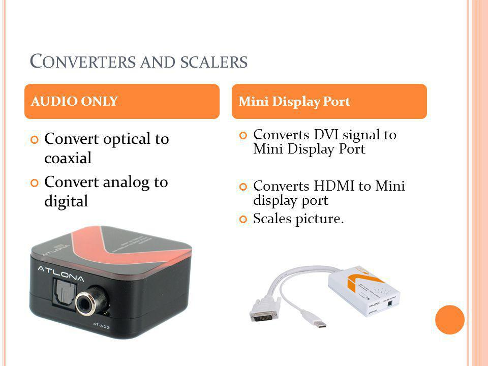 C ONVERTERS AND SCALERS Convert optical to coaxial Convert analog to digital Converts DVI signal to Mini Display Port Converts HDMI to Mini display po