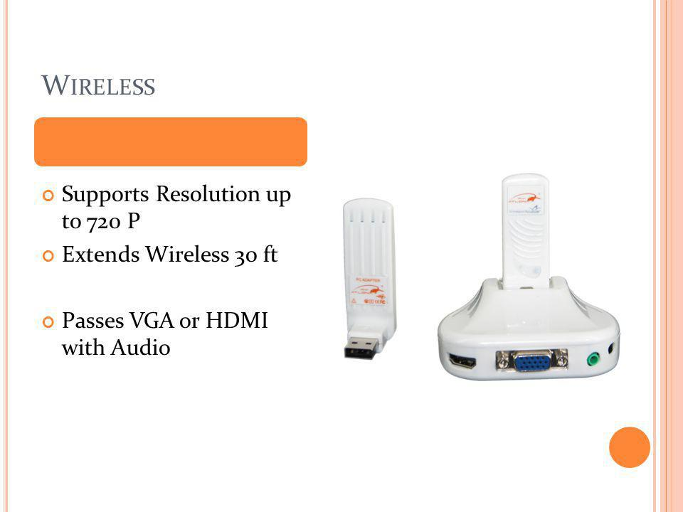 W IRELESS Supports Resolution up to 720 P Extends Wireless 30 ft Passes VGA or HDMI with Audio