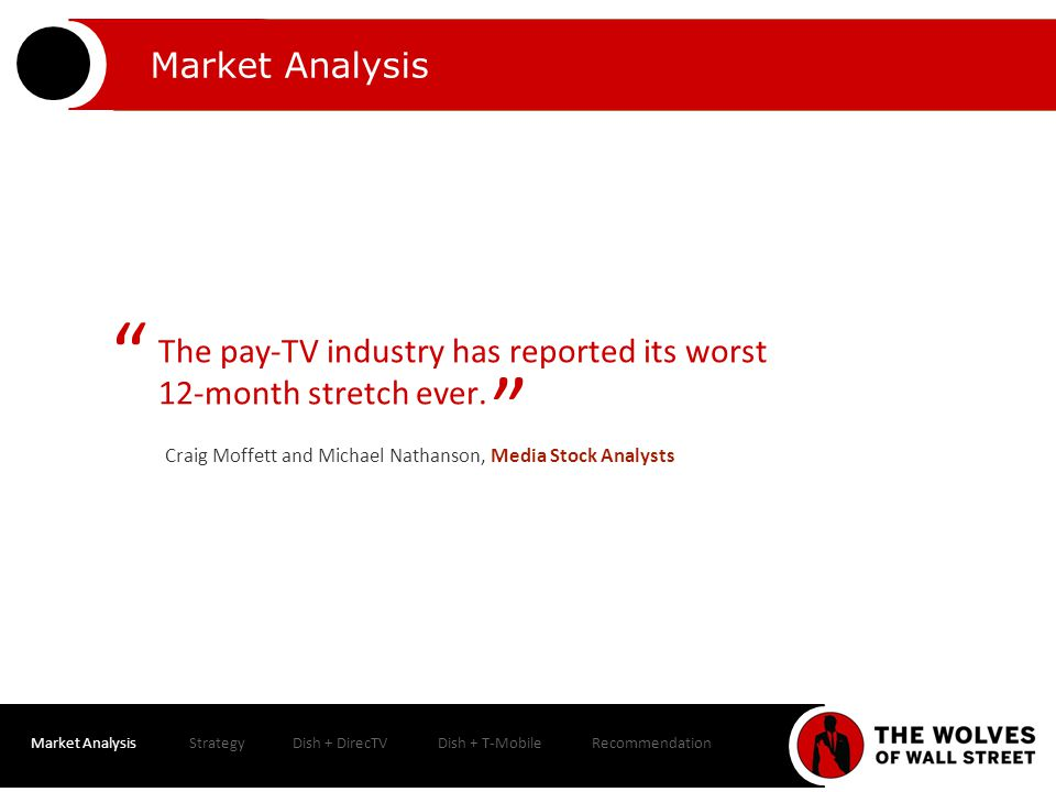 Market AnalysisStrategyDish + DirecTVDish + T-MobileRecommendation Valuation Dish Perpetual Growth Rate = 2.20%Perpetual Growth Rate = 2.70% Perpetual Growth Rate = 3.20% Discount Rate 8.00%8.50%9.00%8.00%8.50%9.00%8.00%8.50% 9.00 % FCF over Projection Period 11,745.0 11,496.
