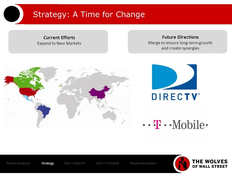 Market AnalysisStrategyDish + DirecTVDish + T-MobileRecommendation Valuation Dish + DirecTV Pro Forma Earnings Impact 20132014E2015E 2013 Contribution Analysis DishDirecTV Dish s Stand-Alone EPS$5.75$5.98$6.22Revenues30.4%69.6% Dish + DirecTV s Combined EPS$3.83$3.91$4.15EBITDA36.8%63.2% Accretion / (Dilution)-33.3%-34.6%-33.3%Dish + DirecTV Shares530.0509.0 % Ownership51.0%49.0%