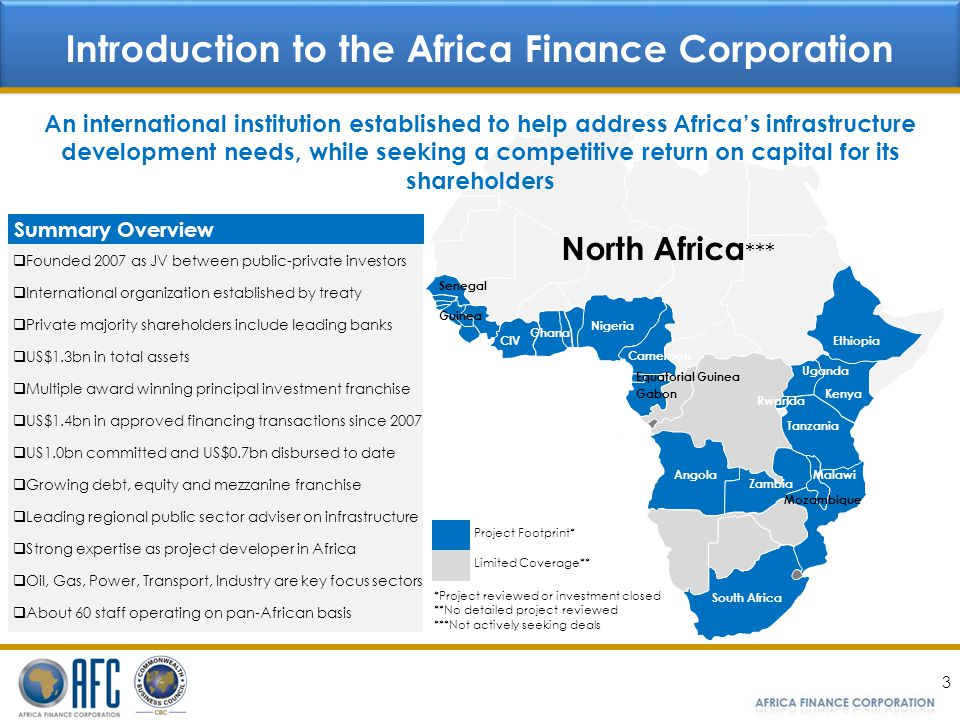 3 Introduction to the Africa Finance Corporation Founded 2007 as JV between public-private investors International organization established by treaty Private majority shareholders include leading banks US$1.3bn in total assets Multiple award winning principal investment franchise US$1.4bn in approved financing transactions since 2007 US1.0bn committed and US$0.7bn disbursed to date Growing debt, equity and mezzanine franchise Leading regional public sector adviser on infrastructure Strong expertise as project developer in Africa Oil, Gas, Power, Transport, Industry are key focus sectors About 60 staff operating on pan-African basis Summary Overview Angola Nigeria South Africa Mozambique Tanzania Kenya Ghana CIV Guinea Cameroon Zambia Gabon Ethiopia Malawi Uganda Senegal Rwanda Equatorial Guinea North Africa *** *Project reviewed or investment closed **No detailed project reviewed ***Not actively seeking deals An international institution established to help address Africas infrastructure development needs, while seeking a competitive return on capital for its shareholders Project Footprint* Limited Coverage**