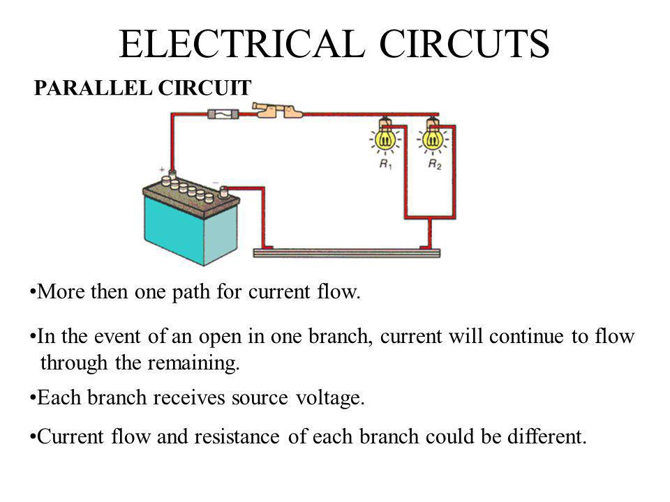 ELECTRICAL CIRCUTS PARALLEL CIRCUIT More then one path for current flow. In the event of an open in one branch, current will continue to flow through