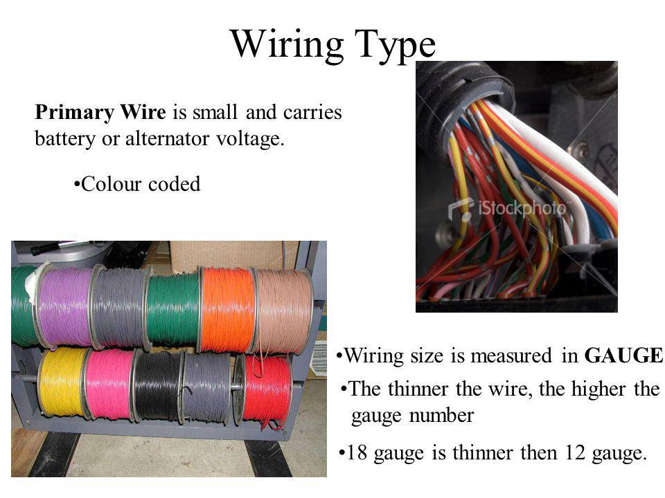 Wiring Type Primary Wire is small and carries battery or alternator voltage. Colour coded Wiring size is measured in GAUGE The thinner the wire, the h