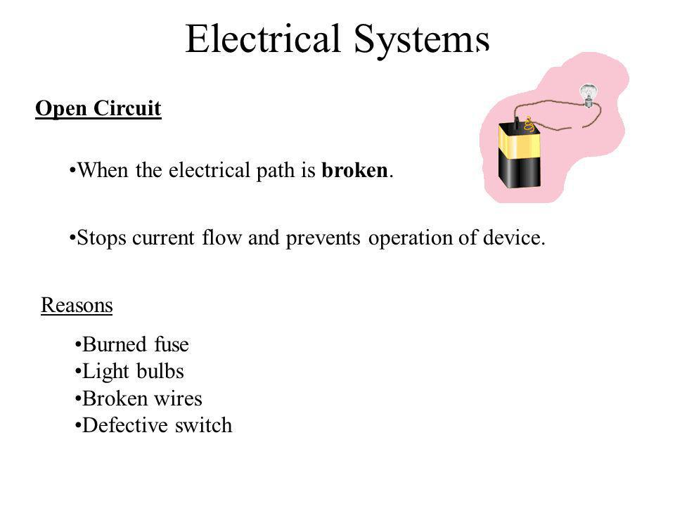 Electrical Systems Open Circuit When the electrical path is broken. Reasons Burned fuse Light bulbs Broken wires Defective switch Stops current flow a