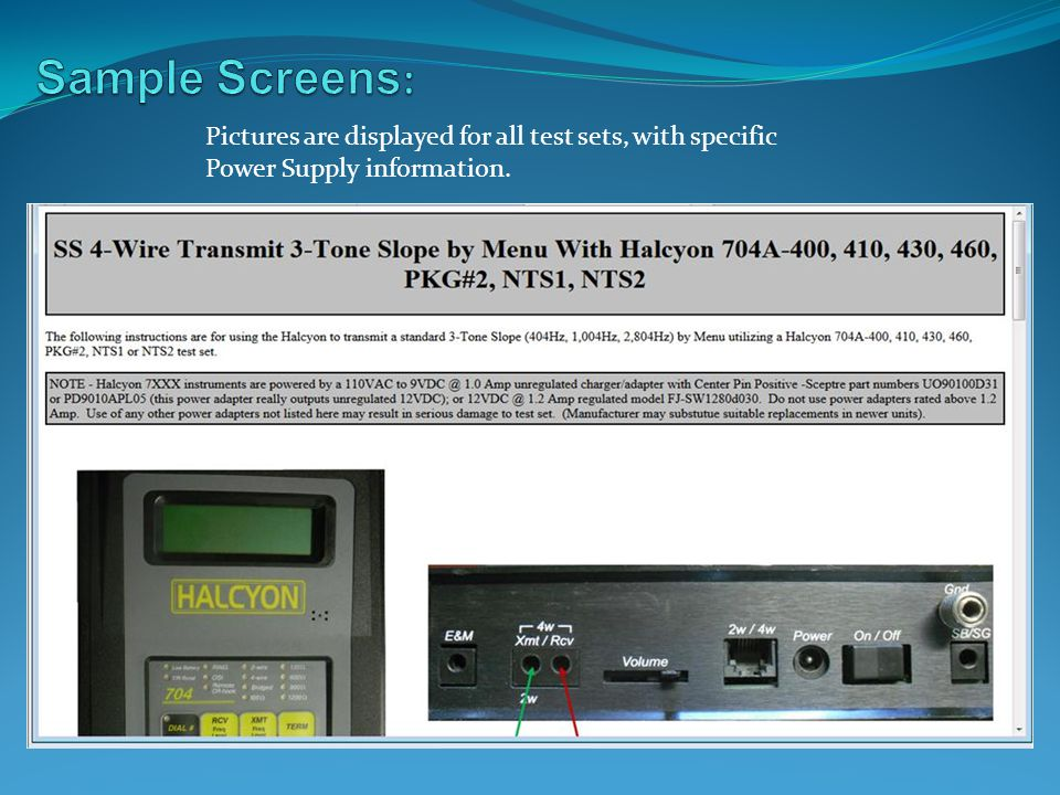 Pictures are displayed for all test sets, with specific Power Supply information.