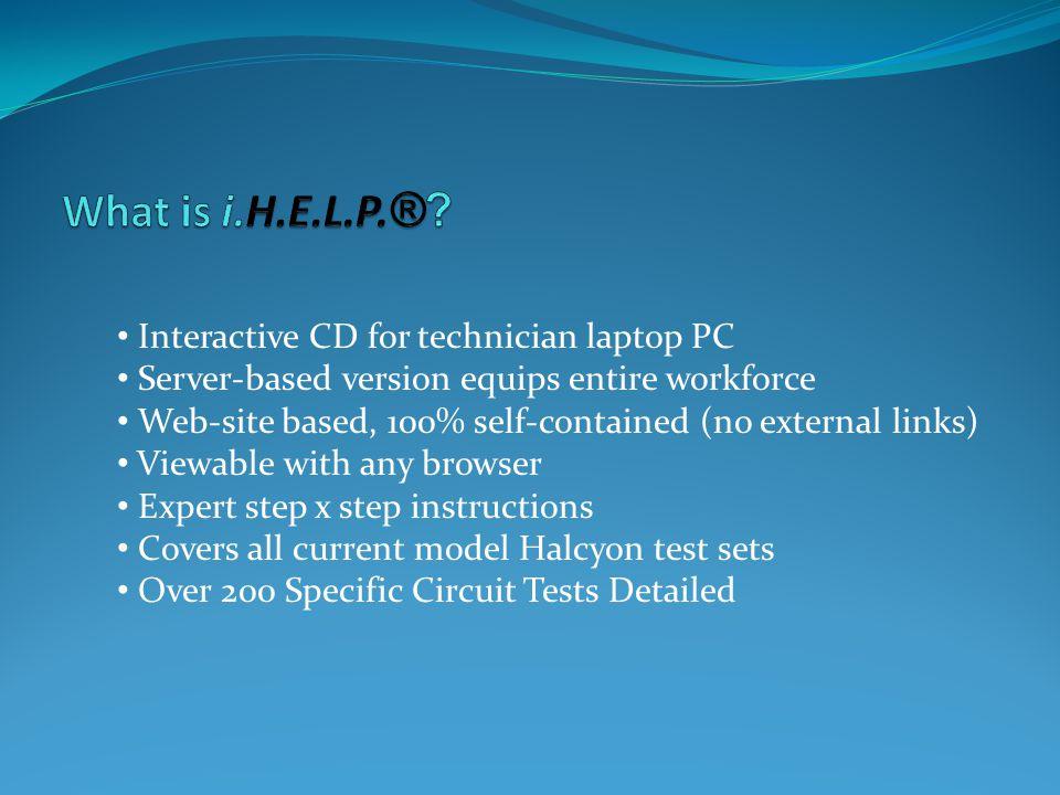 i.H.E.L.P (covers non-Government versions of Halcyon test sets) i.H.E.L.P.