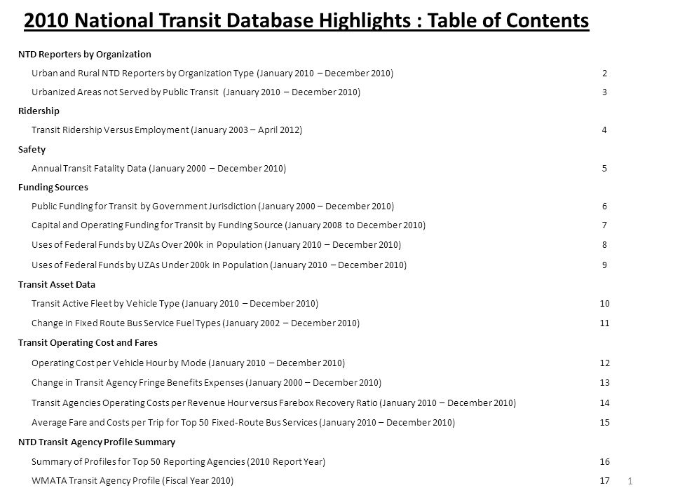 2010 National Transit Database Highlights : Table of Contents NTD Reporters by Organization Urban and Rural NTD Reporters by Organization Type (January 2010 – December 2010)2 Urbanized Areas not Served by Public Transit (January 2010 – December 2010)3 Ridership Transit Ridership Versus Employment (January 2003 – April 2012)4 Safety Annual Transit Fatality Data (January 2000 – December 2010)5 Funding Sources Public Funding for Transit by Government Jurisdiction (January 2000 – December 2010)6 Capital and Operating Funding for Transit by Funding Source (January 2008 to December 2010)7 Uses of Federal Funds by UZAs Over 200k in Population (January 2010 – December 2010)8 Uses of Federal Funds by UZAs Under 200k in Population (January 2010 – December 2010)9 Transit Asset Data Transit Active Fleet by Vehicle Type (January 2010 – December 2010)10 Change in Fixed Route Bus Service Fuel Types (January 2002 – December 2010)11 Transit Operating Cost and Fares Operating Cost per Vehicle Hour by Mode (January 2010 – December 2010)12 Change in Transit Agency Fringe Benefits Expenses (January 2000 – December 2010)13 Transit Agencies Operating Costs per Revenue Hour versus Farebox Recovery Ratio (January 2010 – December 2010)14 Average Fare and Costs per Trip for Top 50 Fixed-Route Bus Services (January 2010 – December 2010)15 NTD Transit Agency Profile Summary Summary of Profiles for Top 50 Reporting Agencies (2010 Report Year)16 WMATA Transit Agency Profile (Fiscal Year 2010)17 1