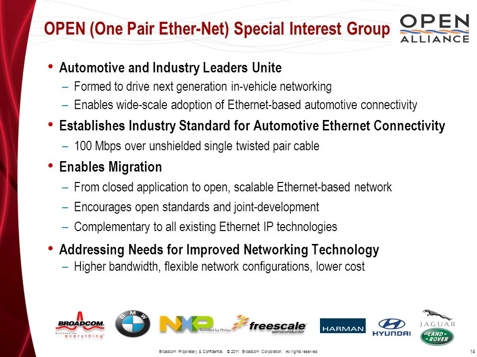 Automotive and Industry Leaders Unite –Formed to drive next generation in-vehicle networking –Enables wide-scale adoption of Ethernet-based automotive