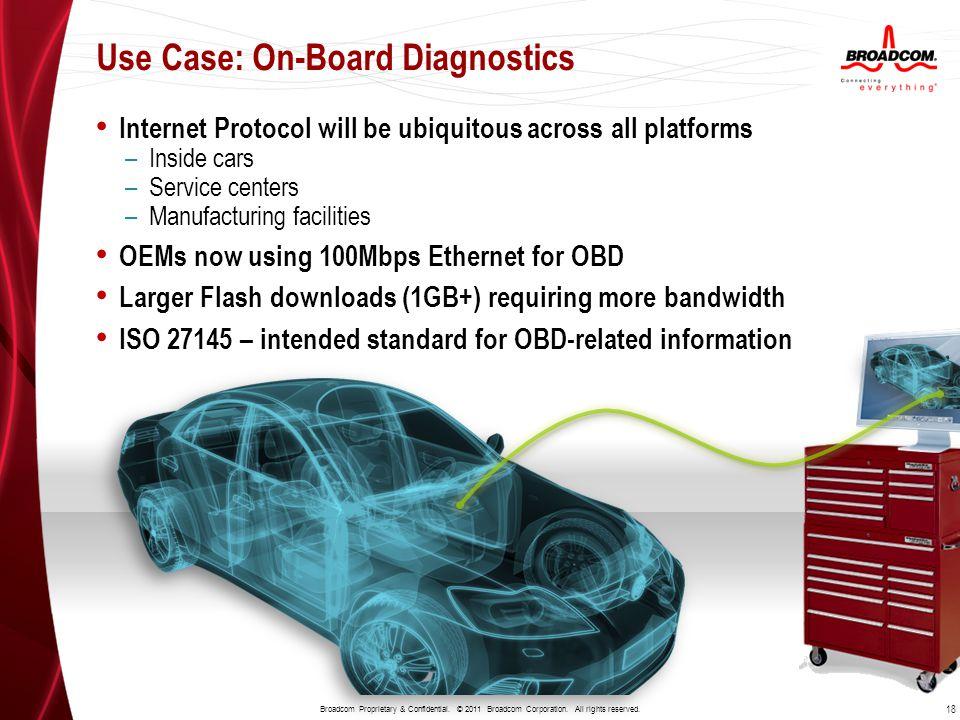 Use Case: On-Board Diagnostics 18 Broadcom Proprietary & Confidential. © 2011 Broadcom Corporation. All rights reserved. Internet Protocol will be ubi