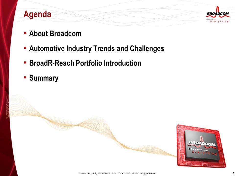 About Broadcom Automotive Industry Trends and Challenges BroadR-Reach Portfolio Introduction Summary Agenda 2 Broadcom Proprietary & Confidential. © 2