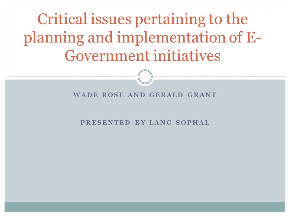 Introduction Municipal, provincial/state, and federal govt have been implementing E-govt initiatives around the world since the late 1990s (Torres, Pina, & Acerete, 2005).