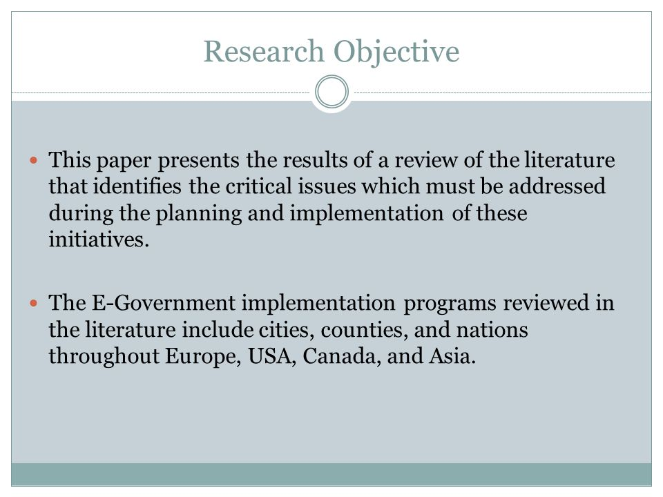 Research Objective This paper presents the results of a review of the literature that identifies the critical issues which must be addressed during the planning and implementation of these initiatives.