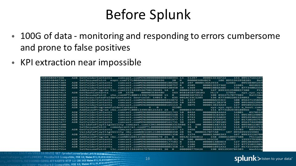 Before Splunk 100G of data - monitoring and responding to errors cumbersome and prone to false positives KPI extraction near impossible 16