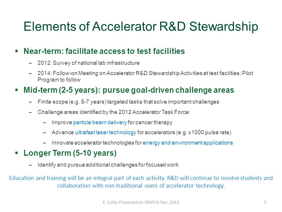 Elements of Accelerator R&D Stewardship 5 Near-term: facilitate access to test facilities –2012: Survey of national lab infrastructure –2014: Follow-o