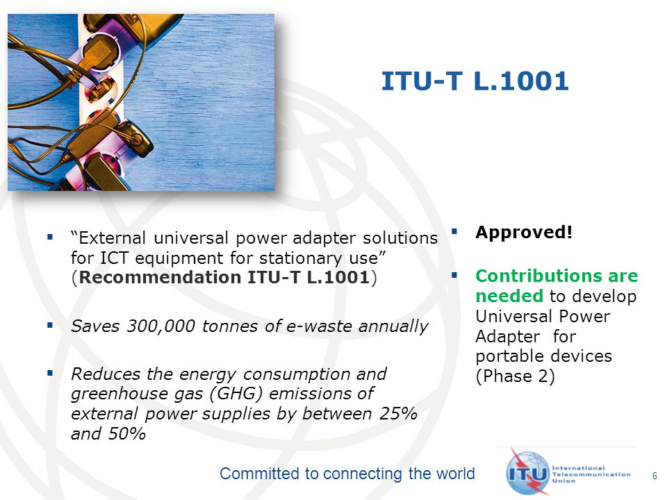 Committed to connecting the world ITU-T L.1001 External universal power adapter solutions for ICT equipment for stationary use (Recommendation ITU-T L