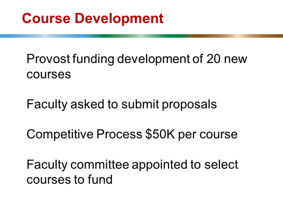 Course Development Provost funding development of 20 new courses Faculty asked to submit proposals Competitive Process $50K per course Faculty committee appointed to select courses to fund