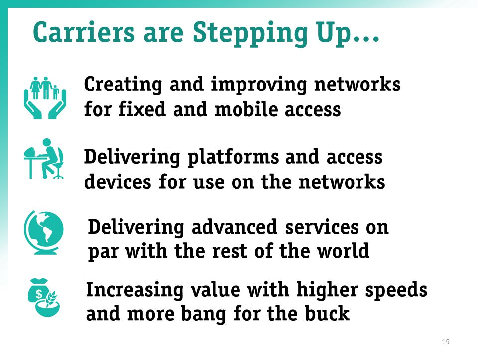 Carriers are Stepping Up… 15 Creating and improving networks for fixed and mobile access Delivering platforms and access devices for use on the networks Increasing value with higher speeds and more bang for the buck Delivering advanced services on par with the rest of the world