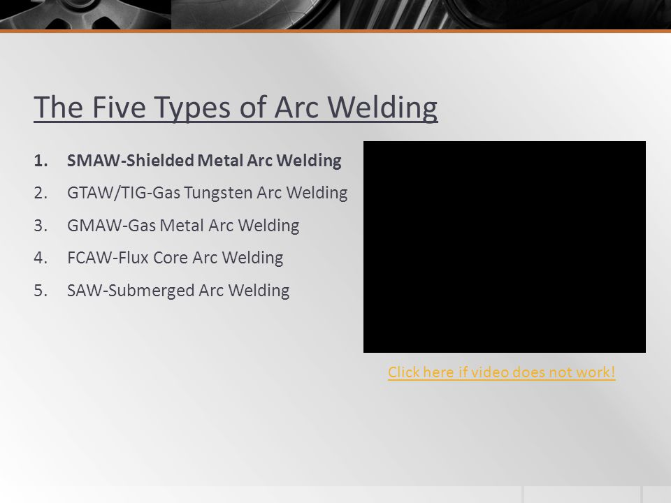 The Five Types of Arc Welding 1.SMAW-Shielded Metal Arc Welding 2.GTAW/TIG-Gas Tungsten Arc Welding 3.GMAW-Gas Metal Arc Welding 4.FCAW-Flux Core Arc