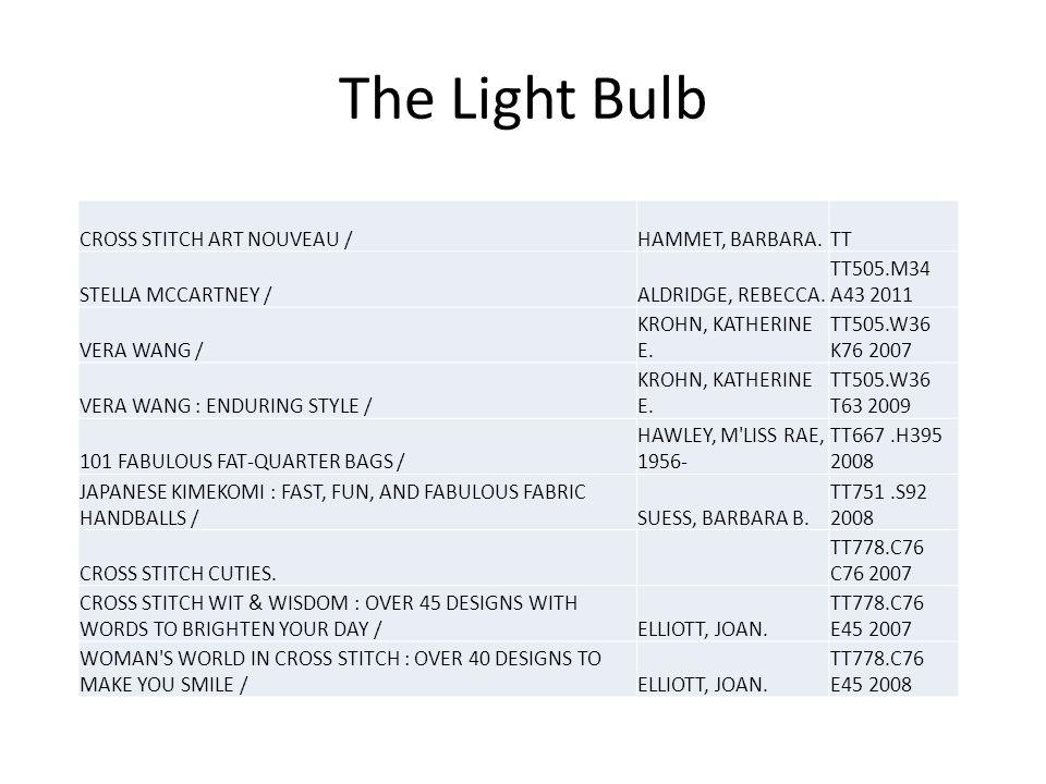 The Light Bulb CROSS STITCH ART NOUVEAU /HAMMET, BARBARA.TT STELLA MCCARTNEY /ALDRIDGE, REBECCA.