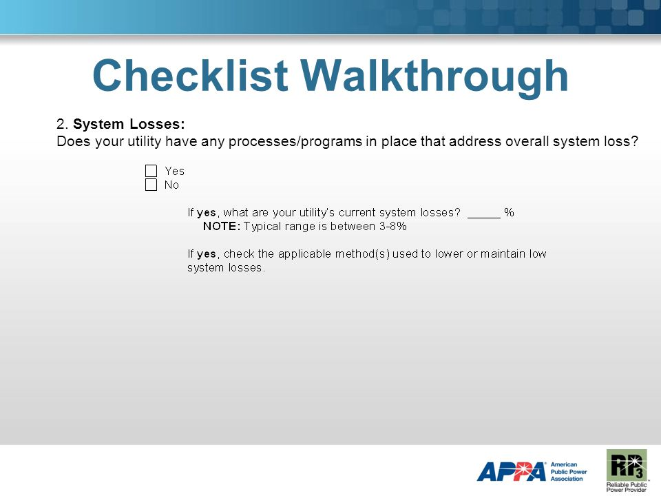 Checklist Walkthrough 2.