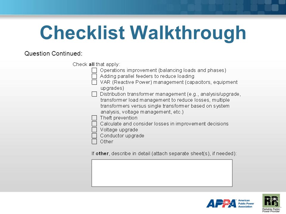 Checklist Walkthrough Question Continued: