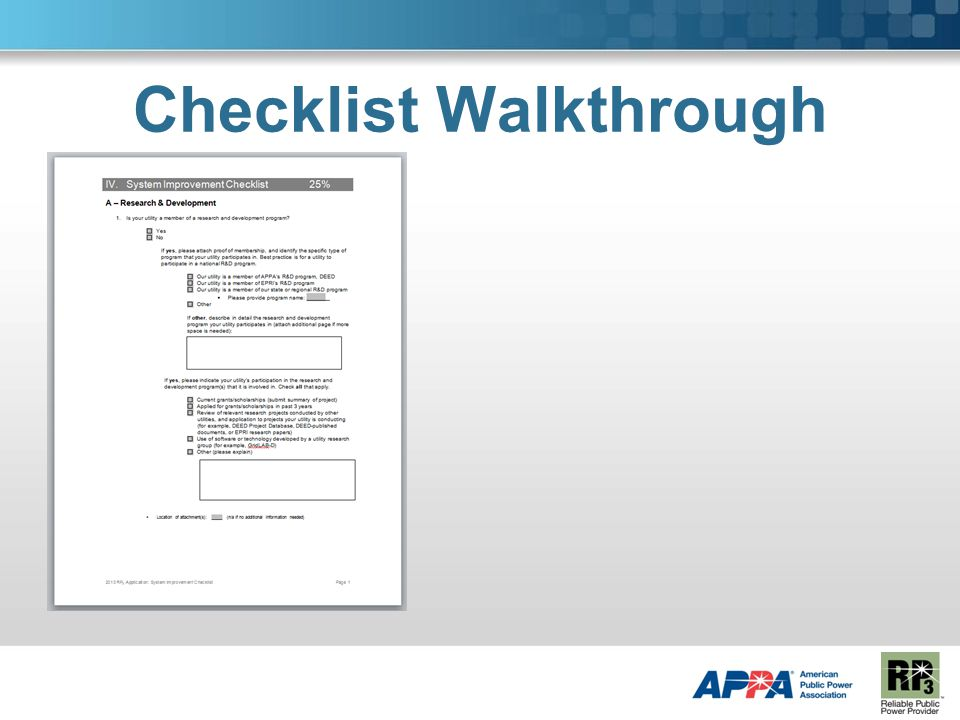 Checklist Walkthrough