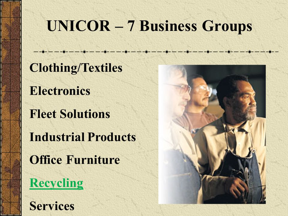 UNICOR – 7 Business Groups Clothing/Textiles Electronics Fleet Solutions Industrial Products Office Furniture Recycling Services