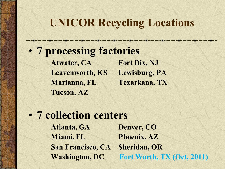 UNICOR Recycling Locations 7 processing factories Atwater, CAFort Dix, NJ Leavenworth, KSLewisburg, PA Marianna, FLTexarkana, TX Tucson, AZ 7 collection centers Atlanta, GADenver, CO Miami, FLPhoenix, AZ San Francisco, CASheridan, OR Washington, DC Fort Worth, TX (Oct, 2011)