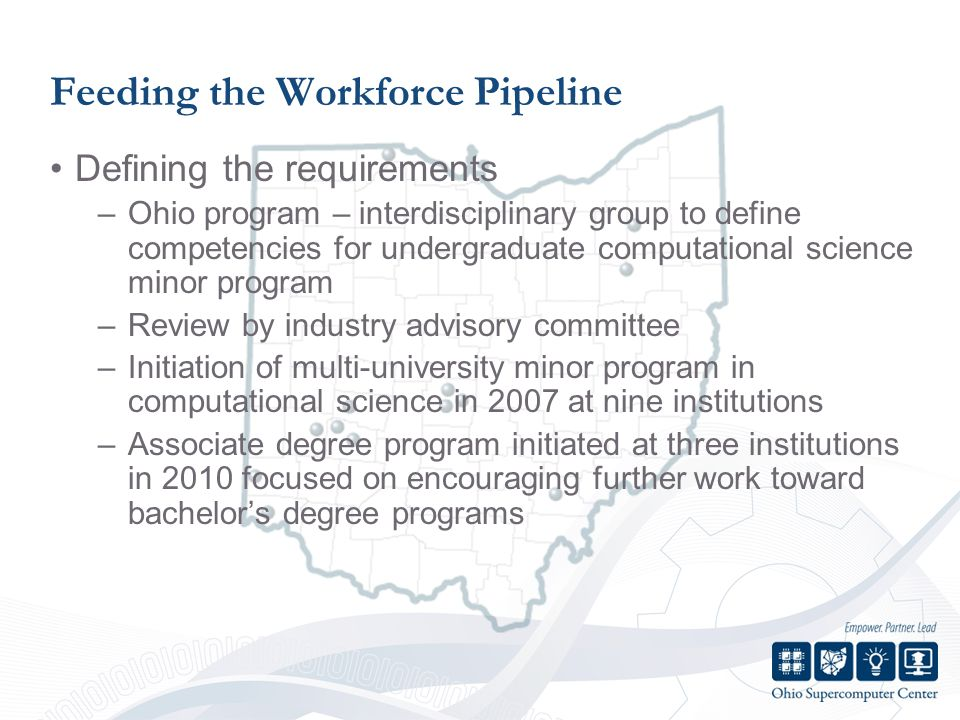 Feeding the Workforce Pipeline Defining the requirements –Ohio program – interdisciplinary group to define competencies for undergraduate computational science minor program –Review by industry advisory committee –Initiation of multi-university minor program in computational science in 2007 at nine institutions –Associate degree program initiated at three institutions in 2010 focused on encouraging further work toward bachelors degree programs