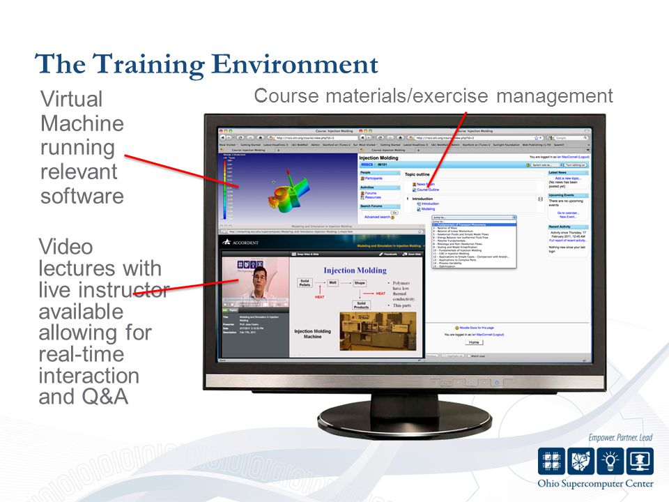 The Training Environment Virtual Machine running relevant software Course materials/exercise management Video lectures with live instructor available allowing for real-time interaction and Q&A