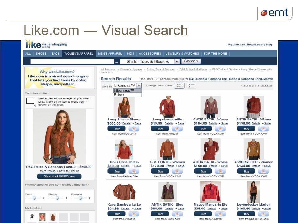 15 kuupäev ja presentatsiooni pealkiri Like.com Visual Search