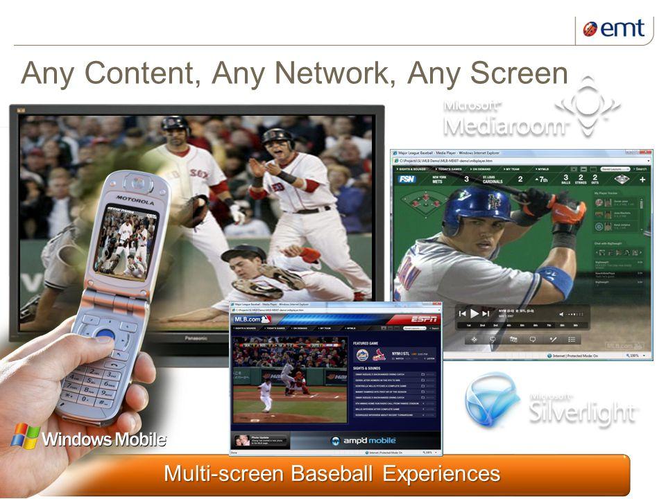 7 kuupäev ja presentatsiooni pealkiri Multi-screen Baseball Experiences Any Content, Any Network, Any Screen