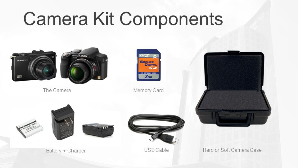 Camera Kit Components Hard or Soft Camera Case The Camera Battery + Charger USB Cable Memory Card