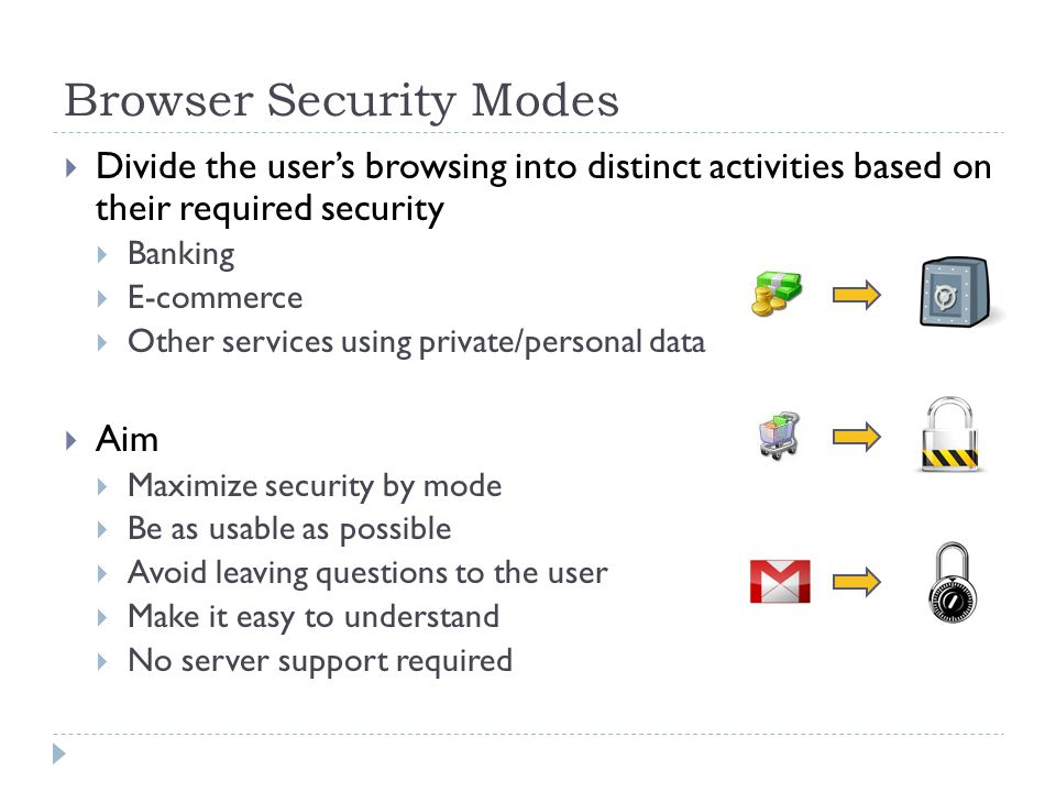 Browser Security Modes Divide the users browsing into distinct activities based on their required security Banking E-commerce Other services using private/personal data Aim Maximize security by mode Be as usable as possible Avoid leaving questions to the user Make it easy to understand No server support required