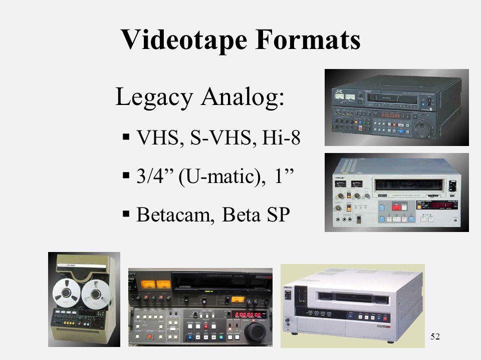 52 Videotape Formats Legacy Analog: VHS, S-VHS, Hi-8 3/4 (U-matic), 1 Betacam, Beta SP Legacy Analog: VHS, S-VHS, Hi-8 3/4 (U-matic), 1 Betacam, Beta SP