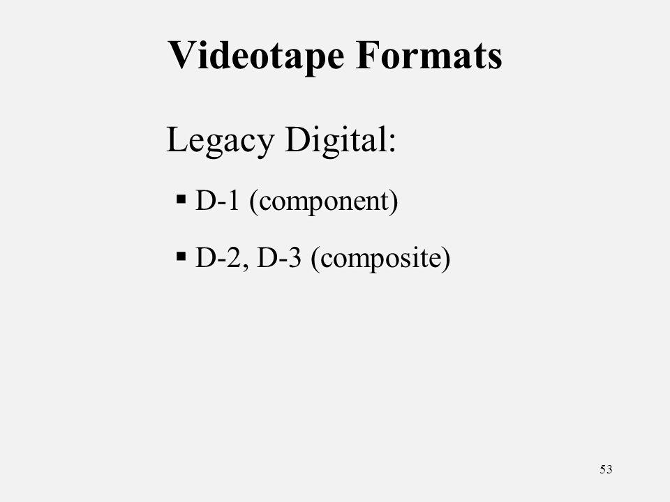 53 Videotape Formats Legacy Digital: D-1 (component) D-2, D-3 (composite) Legacy Digital: D-1 (component) D-2, D-3 (composite)
