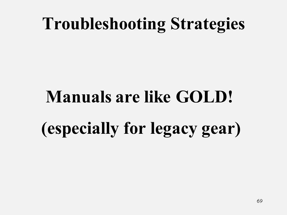 69 Troubleshooting Strategies Manuals are like GOLD.